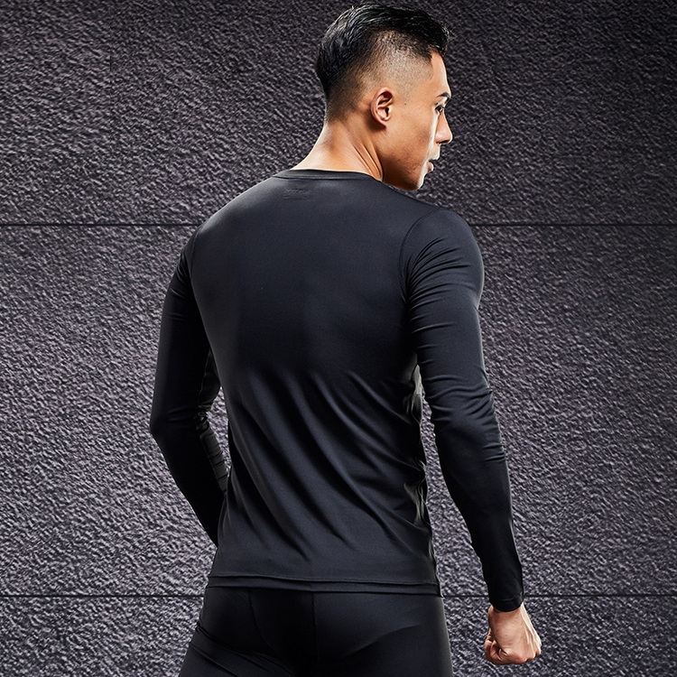 Sport compression tights seamless long sleeve running sports gym tight shirt for men