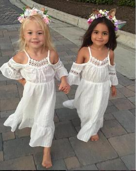 children frocks designs Summer Kids Girl Embroidery Lace Strapless Dress Cotton Long Pattern Party Wear Dresses