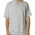 Custom men's plain half sleeve grey sport hoodies