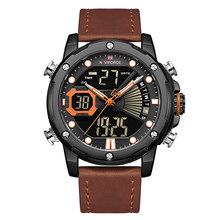 NAVIFORCE Роскошные брендовые часы, мужские кварцевые часы, мужские Модные часы с двойной индикацией даты и светодиодным дисплеем, наручные час...(Китай)