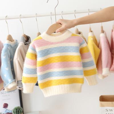 B51703A Зимний новый модный полосатый теплый свитер с длинным рукавом для девочек