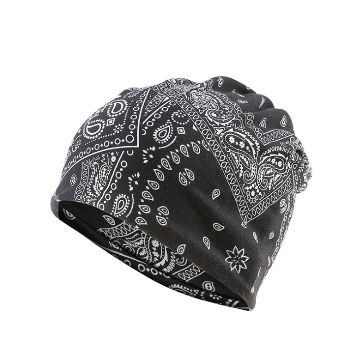 AAA151 Winter outdoor Hip hop unisex fashion Neckerchief cap Windproof ear muff flower print caps Paisley scarf hat Bandanna