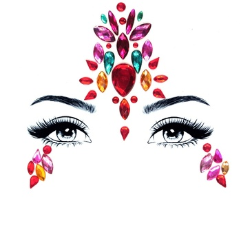 New Fashion Face Gems And Rhinestones Tattoo Face Jewels Sticker For Halloween Festival Adhesive Stick On Face Jewels