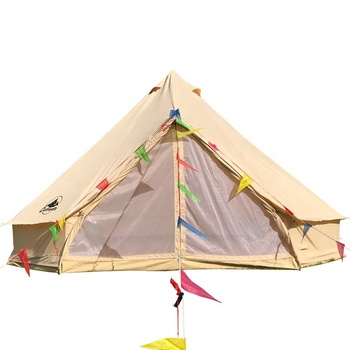 4 Season Waterproof Family Clamping Big Camping Luxury Canvas Bell Tent
