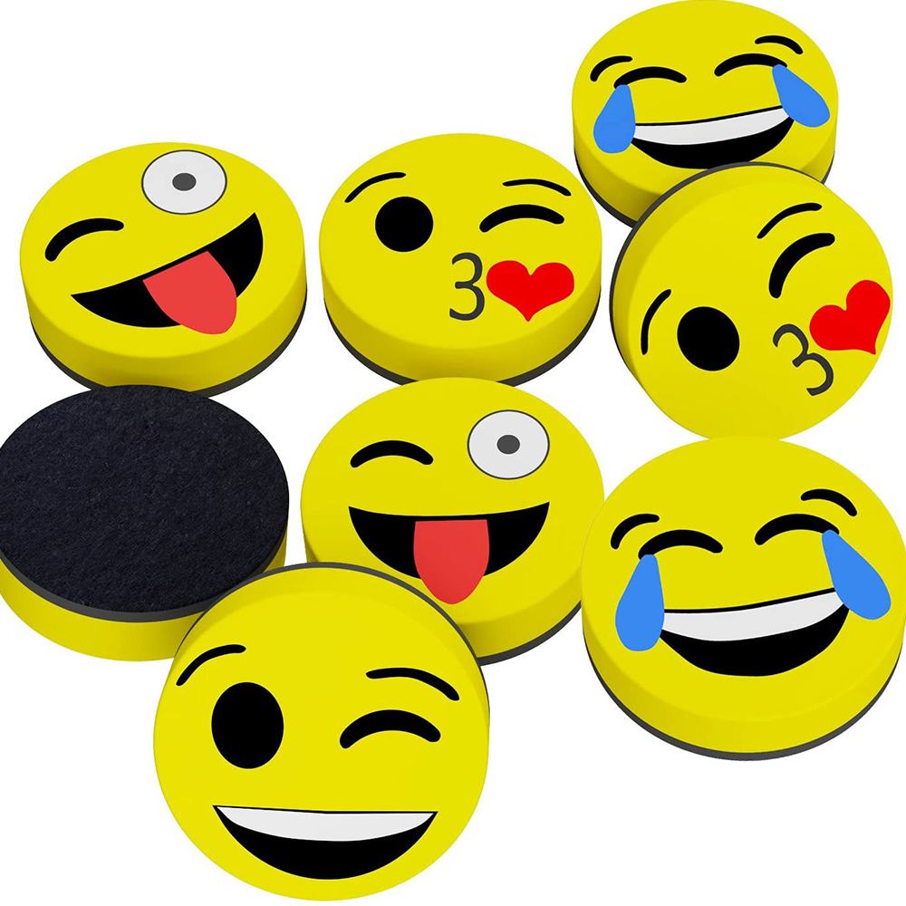 cute Magnetic Smile Face Circular Whiteboard Eraser for Home Office School - Yola WhiteBoard | szyola.net