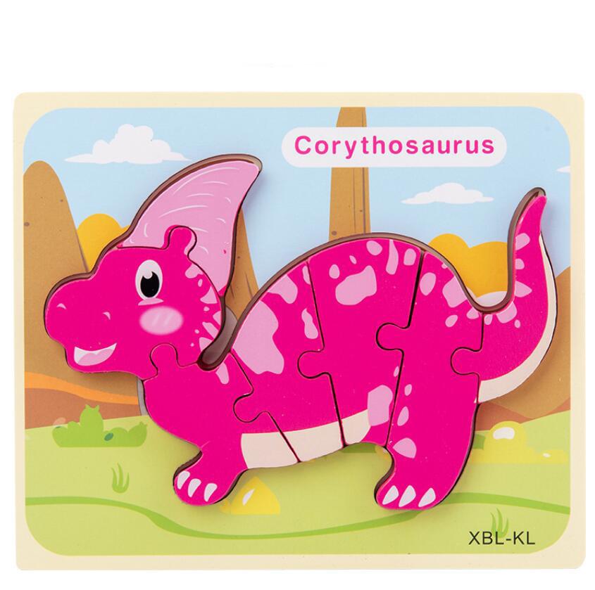 Игрушка-пазл для раннего развития, 12 типов, динозавры, деревянная фанера, головоломки для продажи