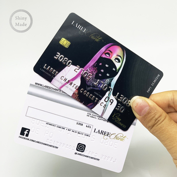 Holographic embossing number gold pink plastic credit cards business cards