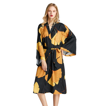 Japanese ladies sexy satin nightgown sleepwear bridesmaid printing wholesale kimono robes