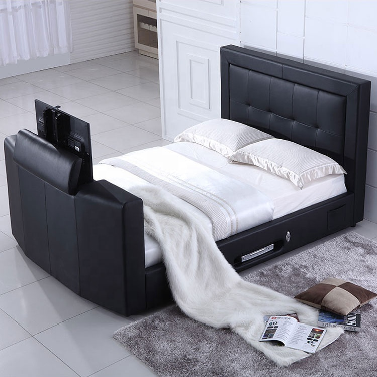 high quality remote control lift queen size tv bed modern for bed room furniture