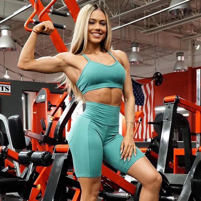 Summer Camisole Cross Back 2 Piece Sports Set sportswear shorts high quality yoga shorts Leggings Sets For Women