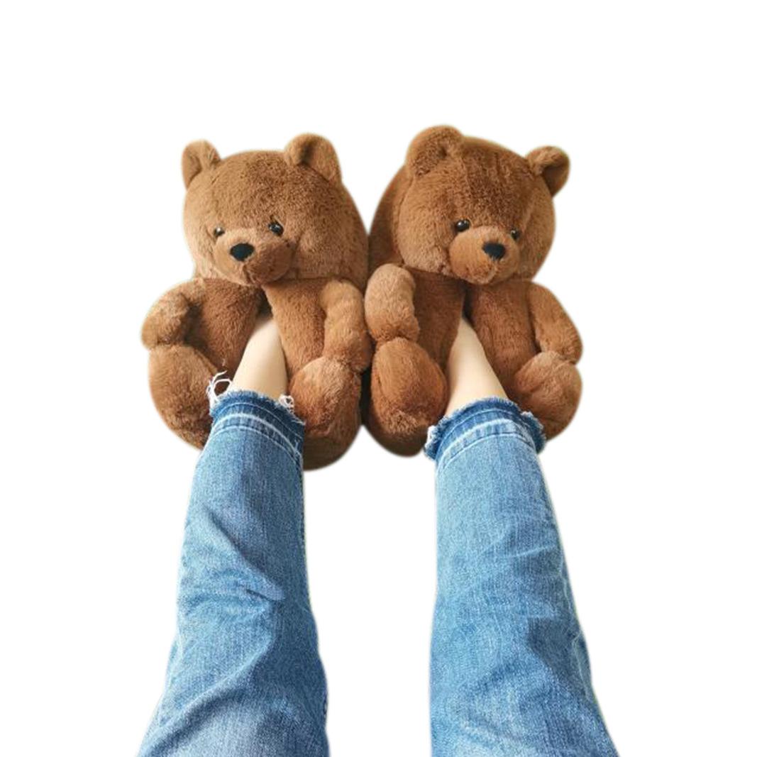 Teddy bear slippers 2021 new arrivals fuzzy Teddy bear house Slippers New Style House Teddy Bear Slippers for Women Girls