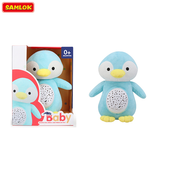 Stuffed Animals Penguin Baby Sound Machine Soother Noise for Baby With Sleeping Aid Star Light Projector And Music