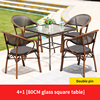 4 Teslin double leg chair 1 glass square table 80cm