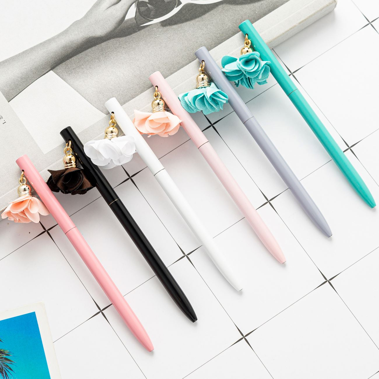 New design novelty metal  ballpoint pen with DIY flower promotion custom logo colorful  ball pen foroffice /school