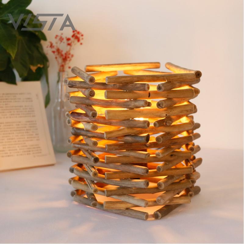 Indoor Design Original Style Wooden Pole Light Decoration Handicraft Art Driftwood Pendant Lamp