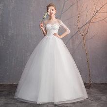 Простые свадебные платья, бальное платье, круглый вырез, шнуровка, рукав 3/4, элегантные недорогие свадебные платья для невесты, Vestido Noiva Barato ...(Китай)