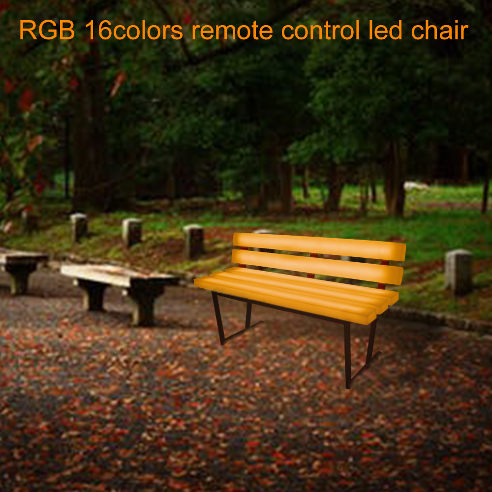 110V/220V RGB Illuminated PE Plastic Seat Led Garden park Bench Garden Chairs Led Garden Furniture Led Bench