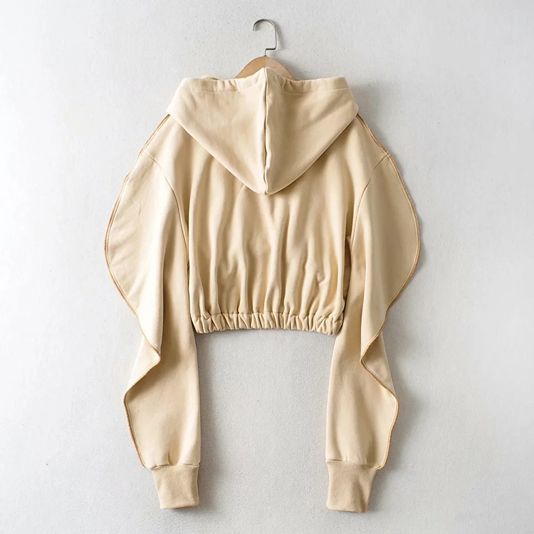 Solid Color Winter Fall Cotton Pullover Short Womens Cropped Tops Woman Casual Long Sleeve Hoodies Crop Top For Women-PT