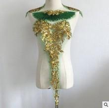 Высококачественные золотые блестки Сетка марля вышитые Ткань платье юбка украшение большой патч, аксессуары ручной работы DIY(Китай)