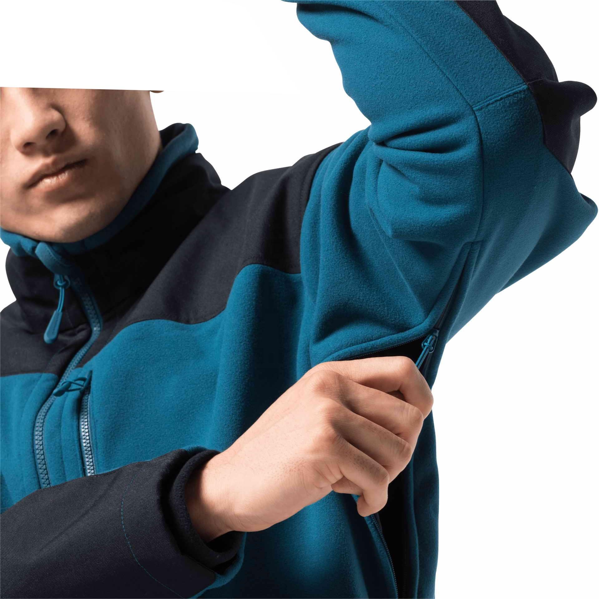 Men's winter outdoor polar fleece hiking jacket keep warm windproof in blue