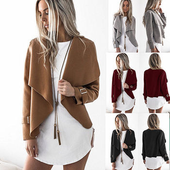 New Fashion Womens Open Stitch Turn-down Collar Jacket Outwear Korean Ladies Short Wool Trench Coat