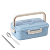 Blue box and stainless steel spoon , chopsticks