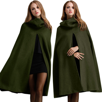 2021 Women's Trench Coat Batwing Cape Wool Poncho Green Jacket Warm Cloak Coat with Hood