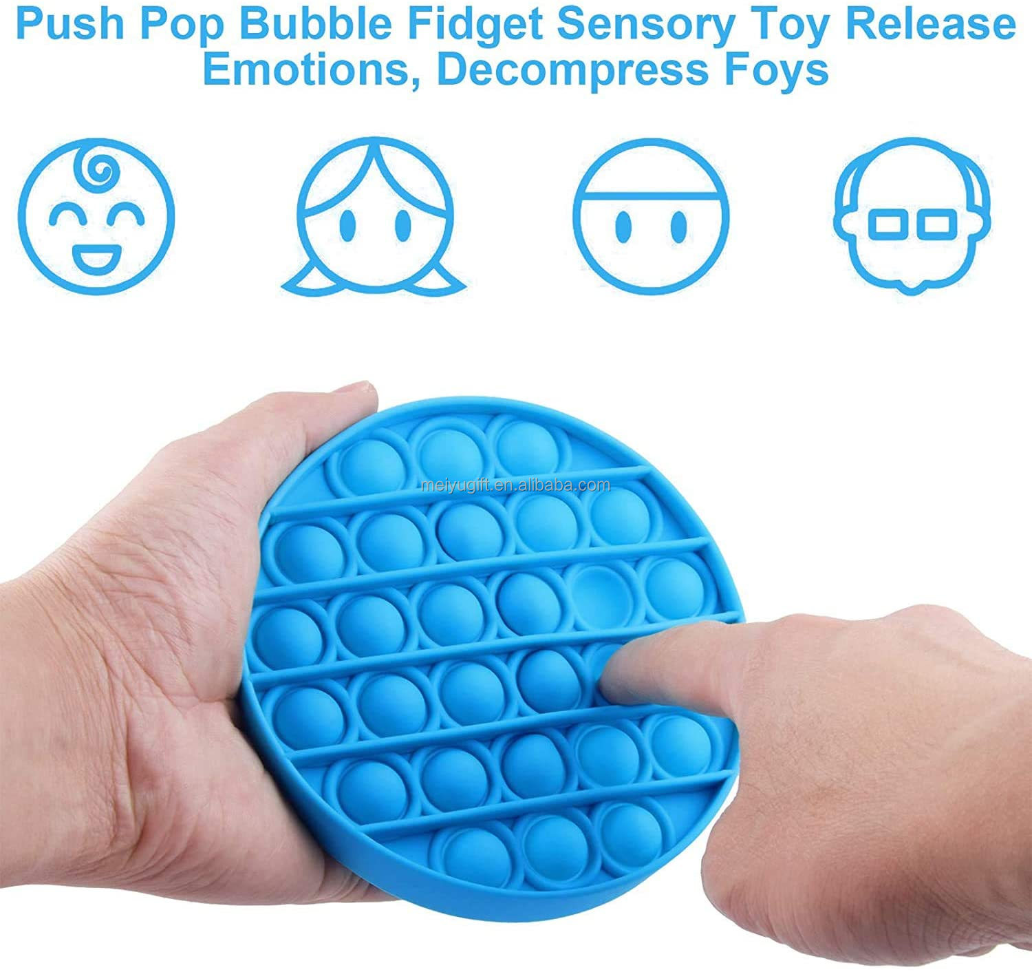 Premium Silicone Anxiety Stress Reliever Toys for Kids Adults BPA Free Durable Yellow, Round Push Pop Bubble Fidget Sensory Toy
