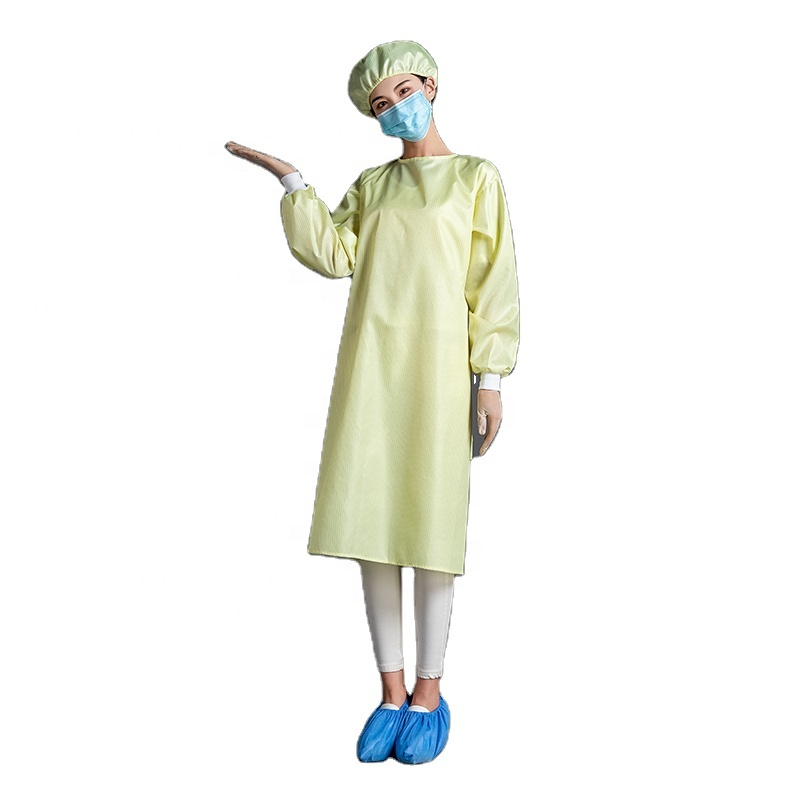 Polyester washable yellow 90gsm reusable waterproof clothing isolation gown with knitted cuff - KingCare   KingCare.net