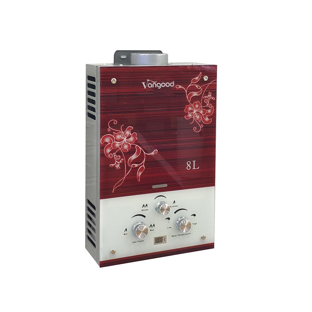 Лучшая цена, низкий ватт, цветной стеклянный вертикальный газовый гейзер, ручной душ, мгновенный нагреватель горячей воды