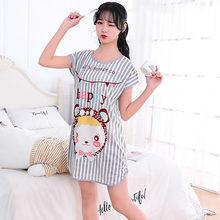 Sanderala симпатичная женская ночная рубашка с мультяшным принтом, сексуальное нижнее белье с круглым вырезом, тонкое женское нижнее белье, ноч...(Китай)