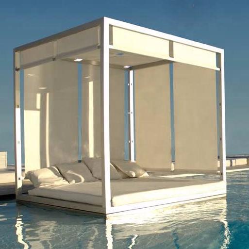 Белая алюминиевая уличная мебель для патио, кровать с навесом для отеля