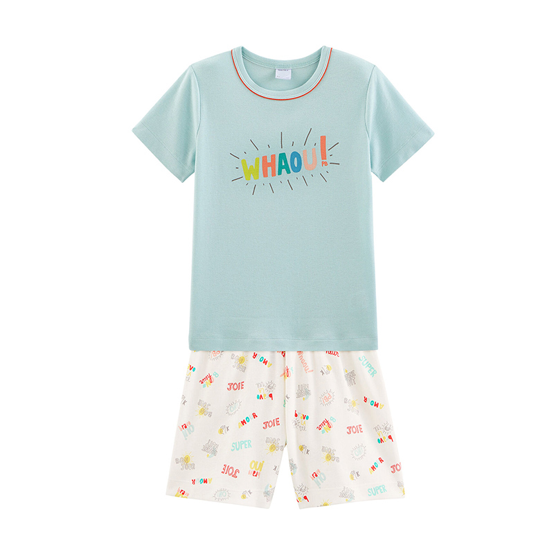 Factory wholesale custom knitted short sleeve summer suits for boys and children fashion sports suits