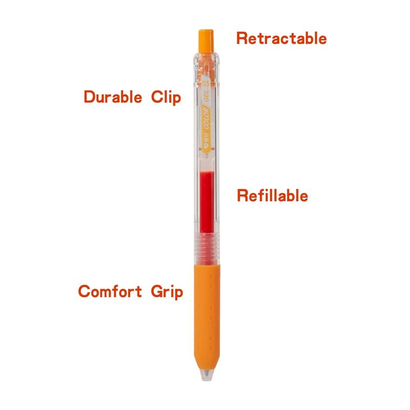 Хорошее качество, большие чернила, выдвижная ручка с гелевыми чернилами 0,5 мм в ассортименте