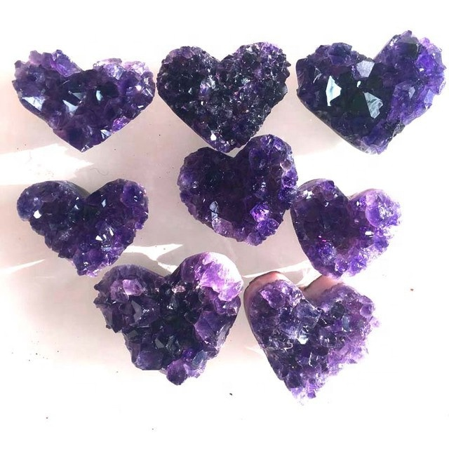 Wholesale natural amethyst heart shaped crystals cluster amethyst cluster crystal heart