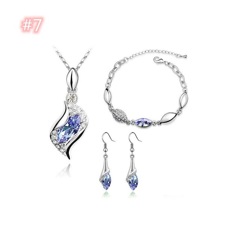 Модные ювелирные изделия с бриллиантами набор, колье + браслет + заблуждаясь комплект ювелирных изделий Женская обувь с украшением в виде кристаллов, каблук 3 шт костюм ювелирные изделия