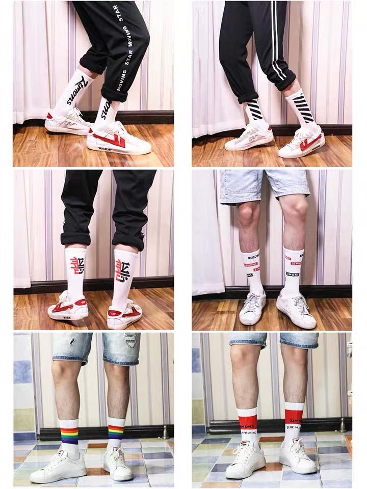 Manufacturer High Quality 100% Cotton Logo Custom Chaussettes Crew Sport Black White Fashion Men Socks