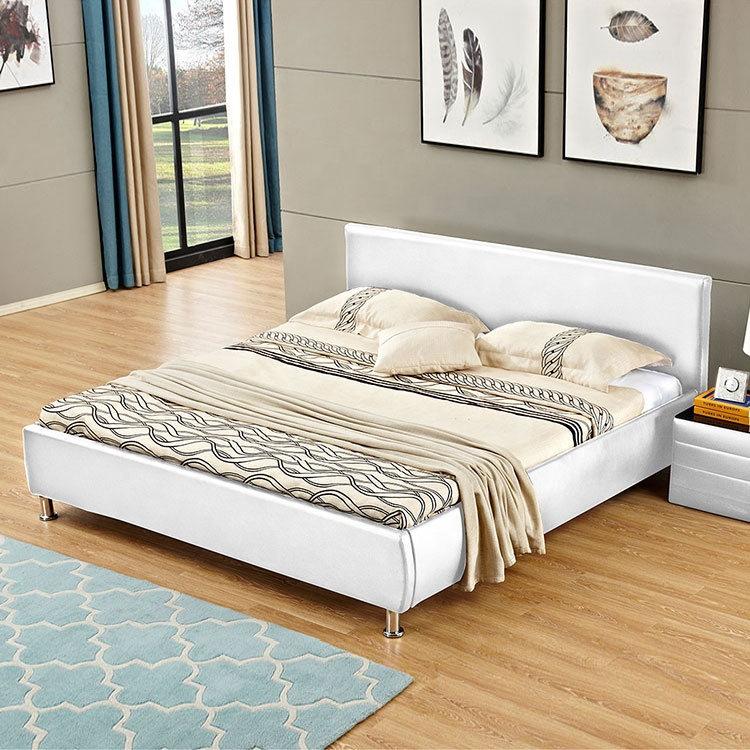 Cheap simple black style comfortable double  PU bed