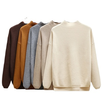 Autumn Winter Oversize Turtleneck Women Sweater Loose Knitted Pullovers