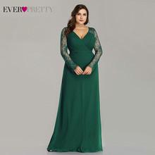 Женские кружевные вечерние платья Ever Pretty, вечерние наряды разных цветов, с V-образным вырезом, длинным рукавом, больших размеров, для выпускн...(Китай)