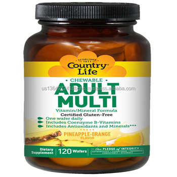 Country Life Adult Multi Vitamin/Mineral Formula - 120 Wafers - Includes Coenzyme B-Vitamins - Pineapple Orange Flavor