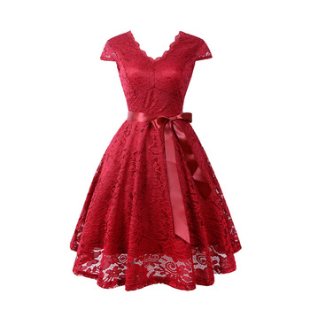 Women's Red Elegant V Neck Cocktail Skater Lace Dress Ladies Sexy Bowknot Bridesmaid Adult Evening Party Dresses