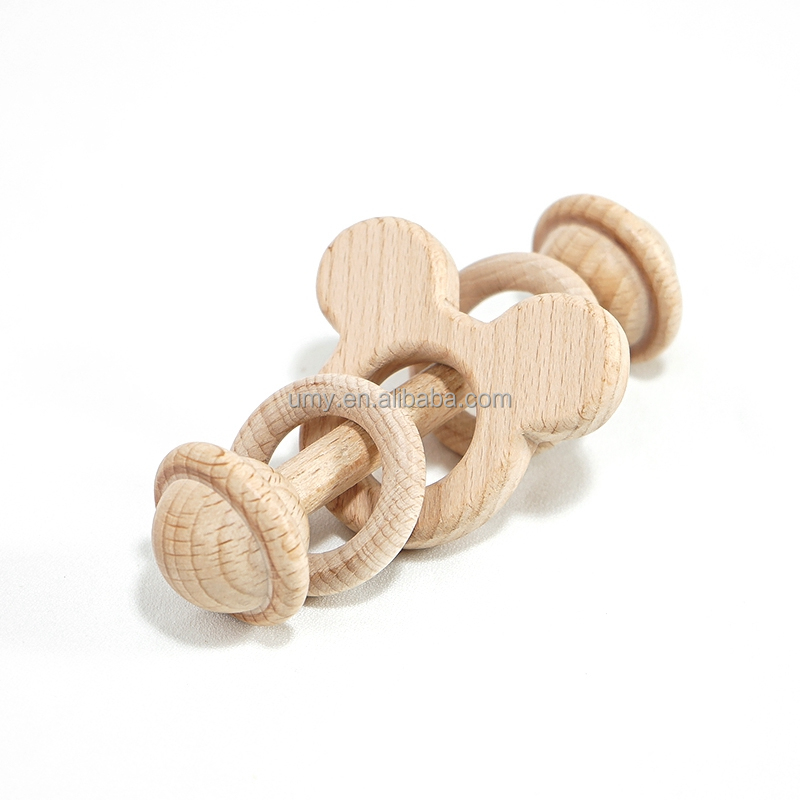 Natural Beech Wood Infant Baby Toys Wood Rattle Ring Teether Holders Toys Rattle