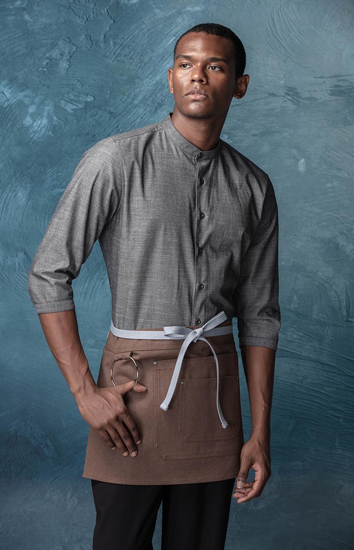 CHECKEDOUT latest design 3 quarter sleeve fashion waiter shirts and waitress shirts for hotel and restaurant