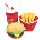 Wholesale Eco Friendly Cute Fast Food Hamburg Soft Durable Squeaky Pet Plush Dog Toy