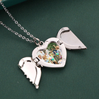 Blank Heart Pendant Heart Sublimation Pendant 2021 New Arrival Sublimation Blank Angel Wings Necklace Heart Lockets Pendant Necklace