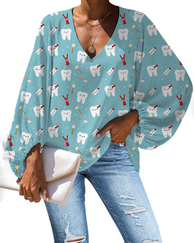 Dentist Cartoon Dental Nurse Print Chiffon Tops and Blouses Women Long Sleeve V-neck Casual Woman Blouse Top Ladies Shirts