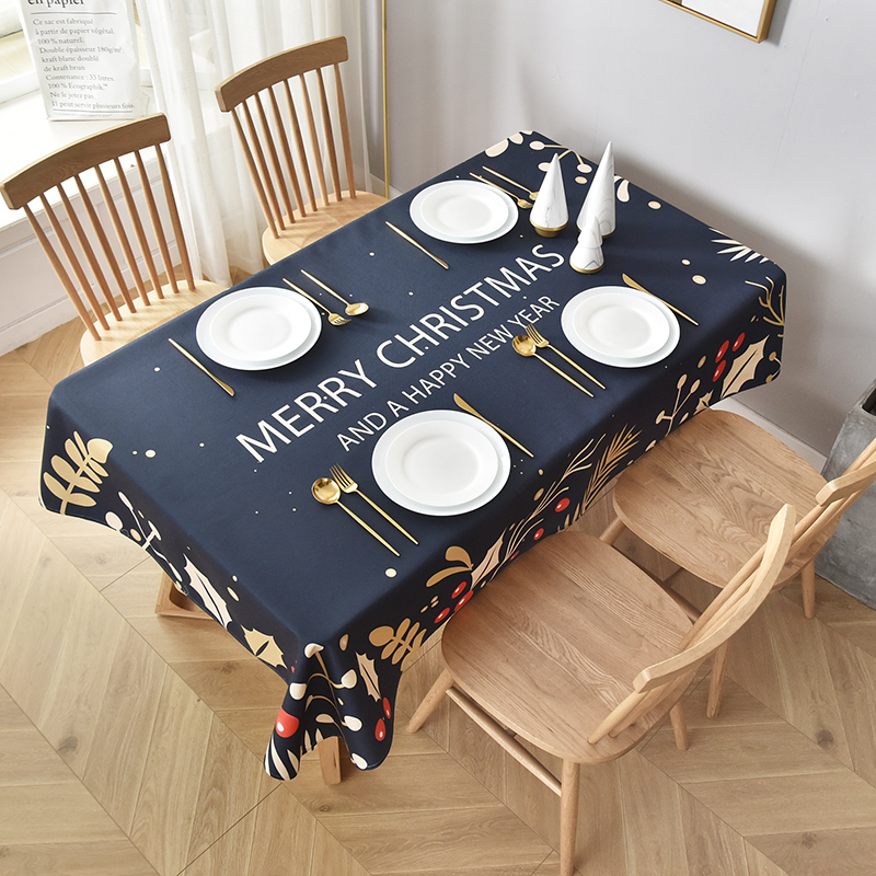 2021 new square tablecloth navy blue tablecloth oil resistant and waterproof tablecloth