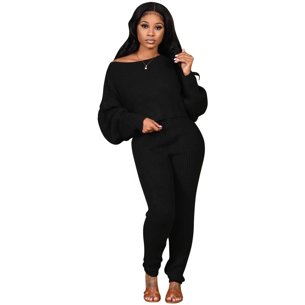 2020 New Arrive Outfits Long Sleeve Casual Women Two Piece Knitted Sweater Clothing Pants Suits Set Winter