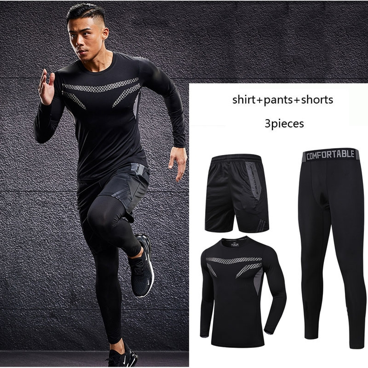 Factory direct custom made mens gym full tracksuit set topmens tops shirt shorts pants jogging 3pcs sport suit